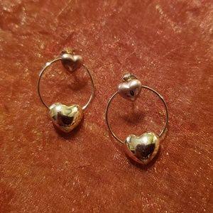 Jewelry - 10k Gold Double Heart Post Hoop Earrings